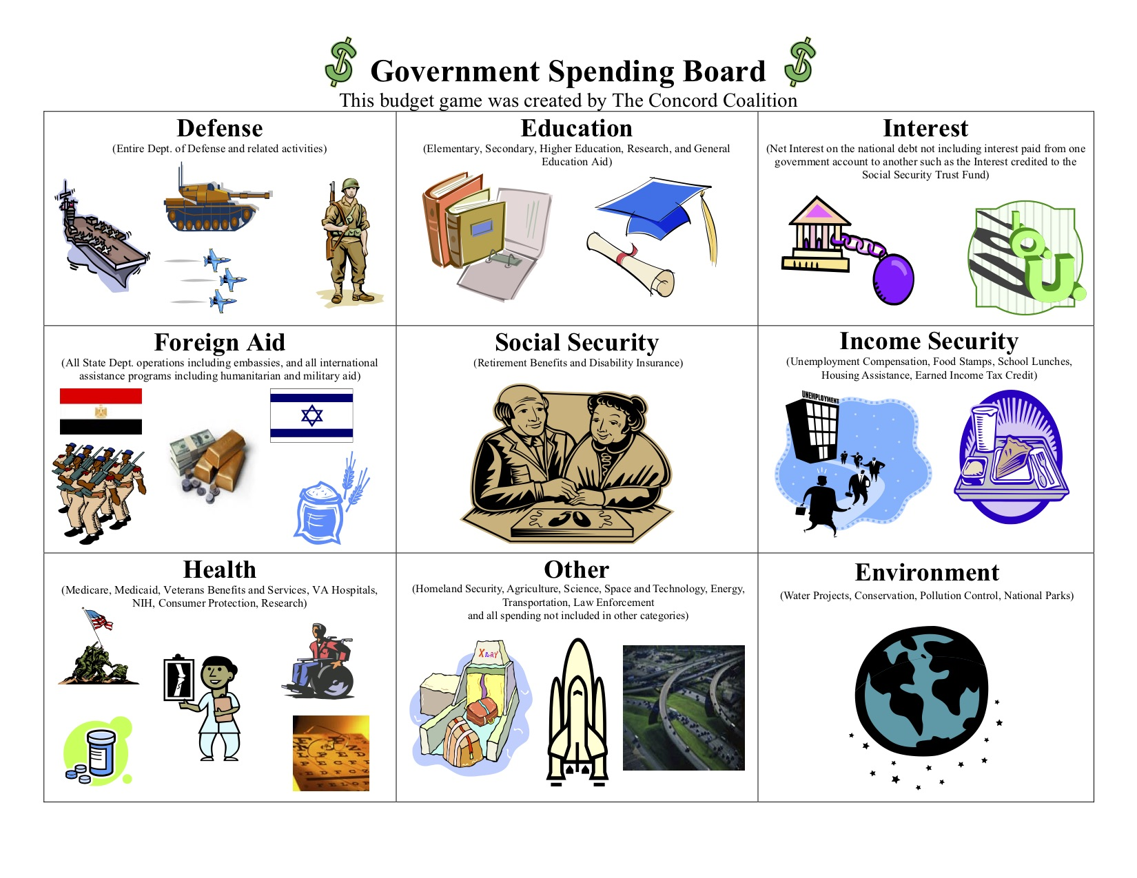 spending program game board