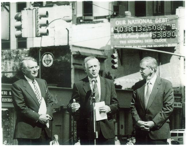 Paul Tsongas, Warren Rudman, and Peter G Peterson at the founding of The Concord Coalition in 1992